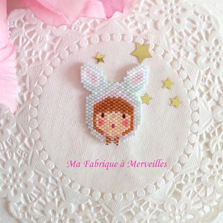 "Broche ""Un Jour de Neige"" en perles Miyuki  - Ma fabrique à merveilles"