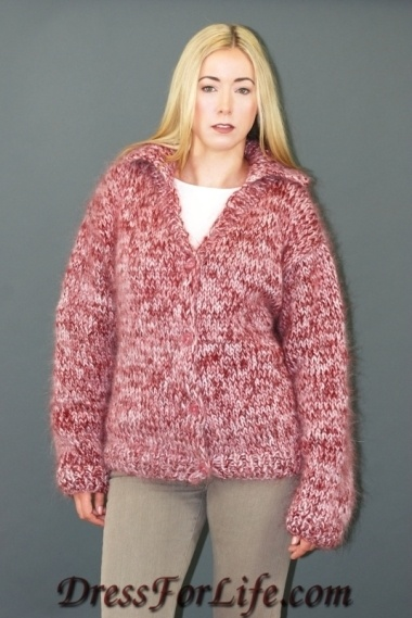 Hand Knitted Button-Front Mohair Cardigan/Jacket ...