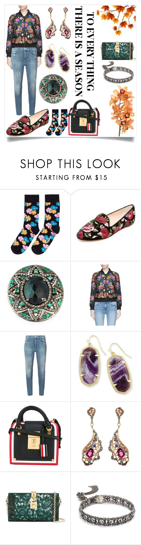 """""""Floral Defines the fashion"""" by camry-brynn ❤ liked on Polyvore featuring Happy Socks, Kate Spade, Bavna, Alice + Olivia, Mother, Kendra Scott, Thom Browne, Wendy Yue, Dolce&Gabbana and vintage"""
