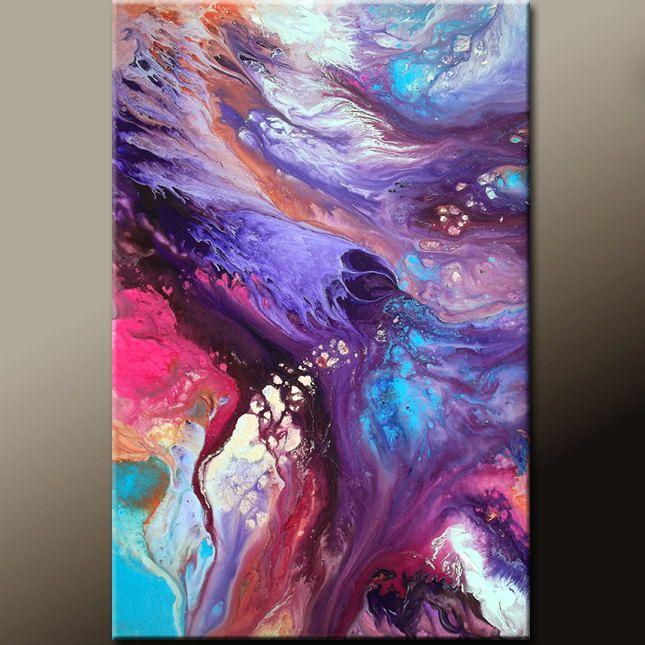 Arte abstracto contemporáneo de Original pintura 24 x por wostudios
