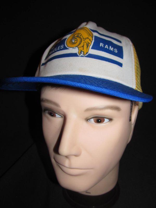 Vintage Defunct Los Angeles LA Rams Hat Cap NFL Mesh Snapback Throwback Football…