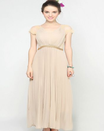 Apricot V-neck Lace Cap Sleeve Beading Pleated Long Chiffon Dress
