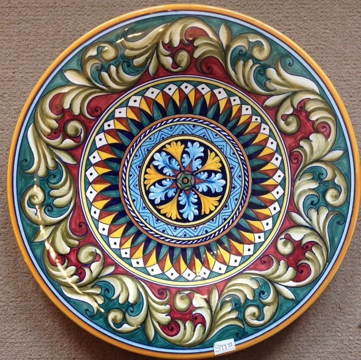Deruta Pottery-16inch plate vario Pattern made/painted byhand-Italy. picclick.com
