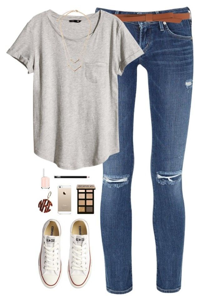 """simple"" by classically-preppy ❤ liked on Polyvore featuring Citizens of Humanity, Ganni, H&M, Converse, Bobbi Brown Cosmetics, NARS Cosmetics and Essie"