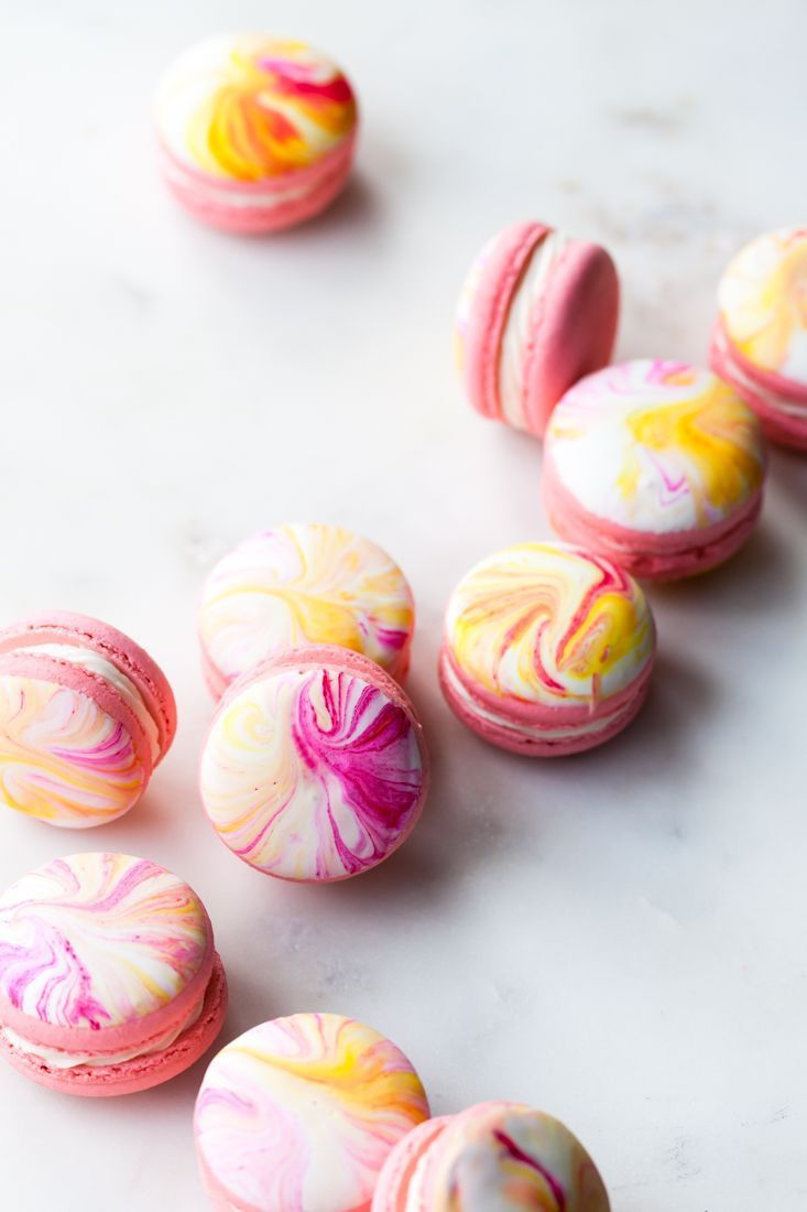 Marble Macarons with Earl Grey Buttercream and Pink Lemonade Filling