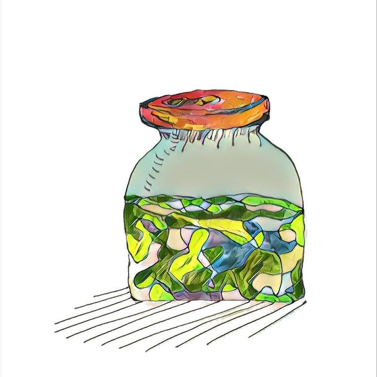 this is a #jar with #chlorella on #steroids - #digitally enhanced #drawing on #paper