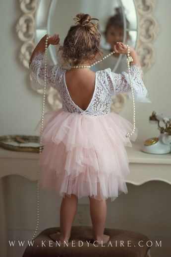 Gorgeous lace and soft blush dress for baby girls or toddlers. Perfect for Flower Girl Dresses, Easter Dresses, Birthday Dresses and more!
