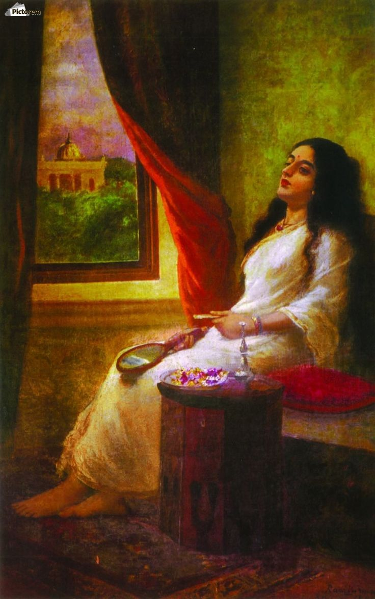 In contemplation , Raja Ravi Varma ,