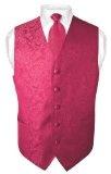 Men's Paisley Design Dress Vest NeckTie HOT PINK FUCHSIA Neck Tie Set for Suit or Tuxedo - http://www.rainbowclothingstore.org/mens-paisley-design-dress-vest-necktie-hot-pink-fuchsia-neck-tie-set-for-suit-or-tuxedo/