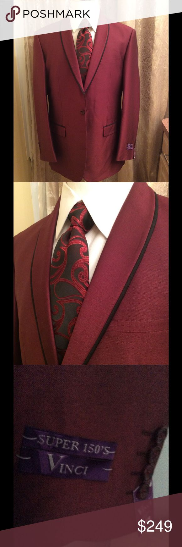 Mens slim fit suit 44r from WJB REGAL COLLECTION Vinci MENS Slim fit suit/ Size 44r/ NWT/ Black lapel piping/ color: burgundy Suits & Blazers Suits