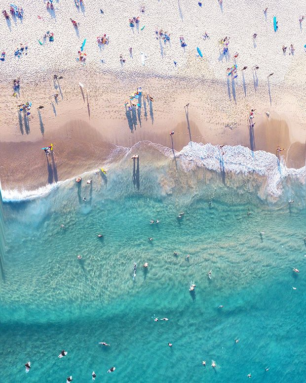 The water in Sydney, suggests Australian photographer Gabriel Scanu, is unlike the water anywhere else in the world. It's sparkling, pure, and clear as glass. The stories of the sea are as old and numerous as grains of sand. Over the past year, he has captured the city's beaches from above, piloting a drone camera hundreds of feet above the earth.