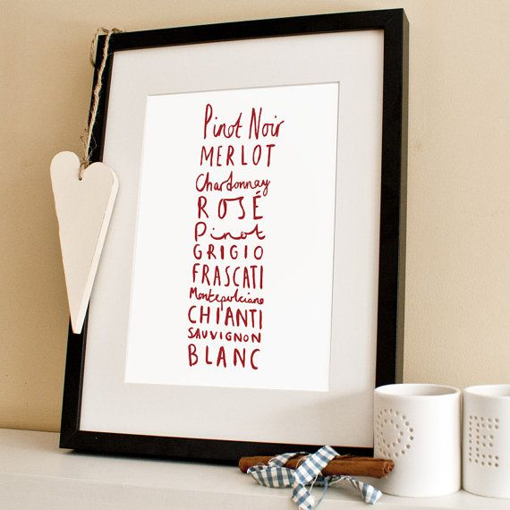 Wine Print A4 Print by OldEnglishCo on Etsy