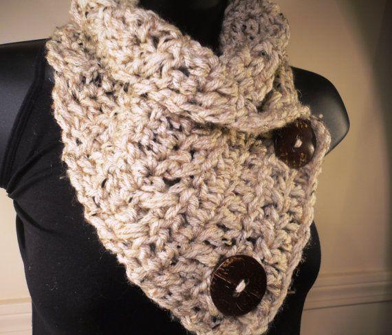 Crochet Scarf Crochet Cowl Neckwarmer Oatmeal by VillaYarnDesigns