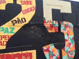 Lisbon street art celebrating the 'coronation revolution' on the 25th April 1975 - Calçado do Lavra