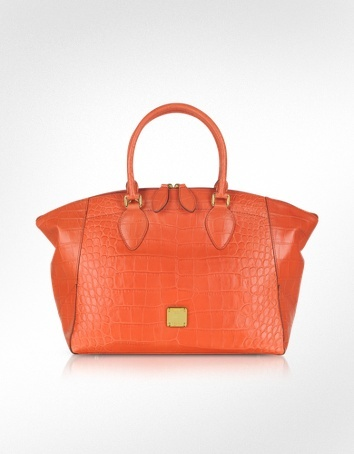 MCM First Lady - Croco-Embossed Leather Bowler Bag