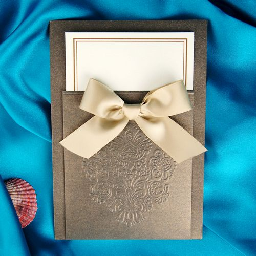Chic Brown Vintage Pocket Free Personalized & Customized Printing Wedding Invitations Cards With Bow (Set of 100) Free Shipping