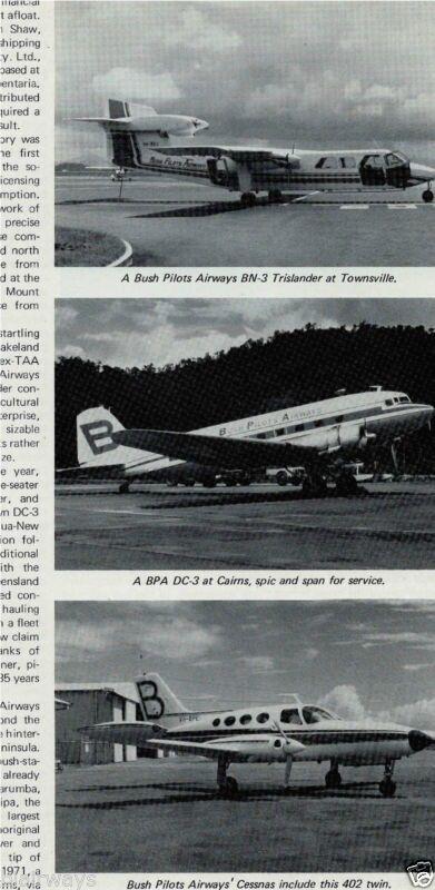 BUSH PILOT AIRWAYS CAIRNS AUSTRALIA 1975 ARTICLE C-402-DC-3-BN-3-C210