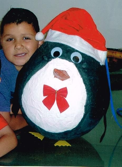 Every year we make a Christmas themed pinata - this one is from 2012