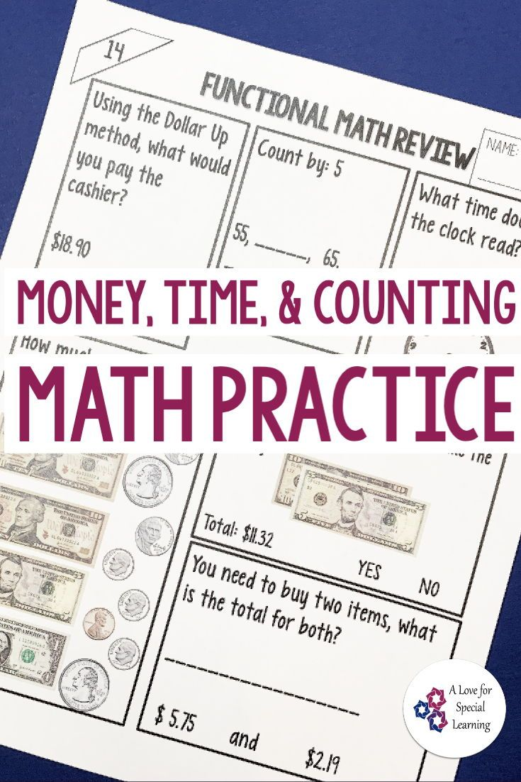 Functional Math Practice In The Classroom Special Education Worksheets Money Math Activities Middle School Special Education