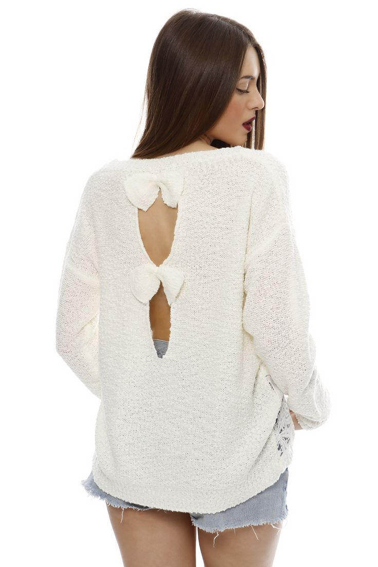 Lace Detail Sweater - ΡΟΥΧΑ -> Μπλούζες   Made of Grace