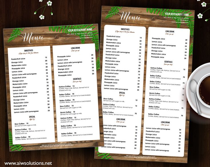 20 best Menu Templates images on Pinterest Food menu, Beverages - food menu template