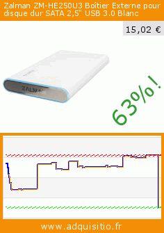 """Zalman ZM-HE250U3 Boîtier Externe pour disque dur SATA 2,5"""" USB 3.0 Blanc (Personal Computers). Réduction de 63%! Prix actuel 15,02 €, l'ancien prix était de 40,96 €. https://www.adquisitio.fr/zalman/zm-he250u3-bo%C3%AEtier"""