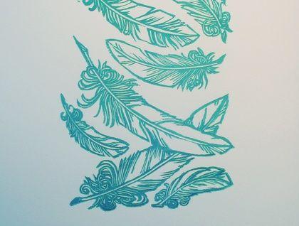 'Failling Feathers' Lino-print