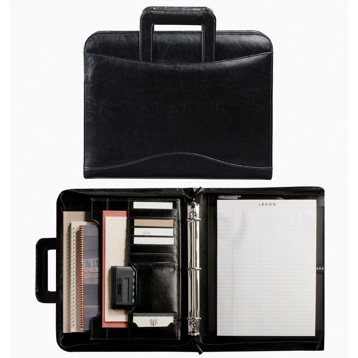 Amazon.com: Leed's Leather 3 Ring Binder Letterpad Portfolio Organizer Retractable Handles Black: Everything Else