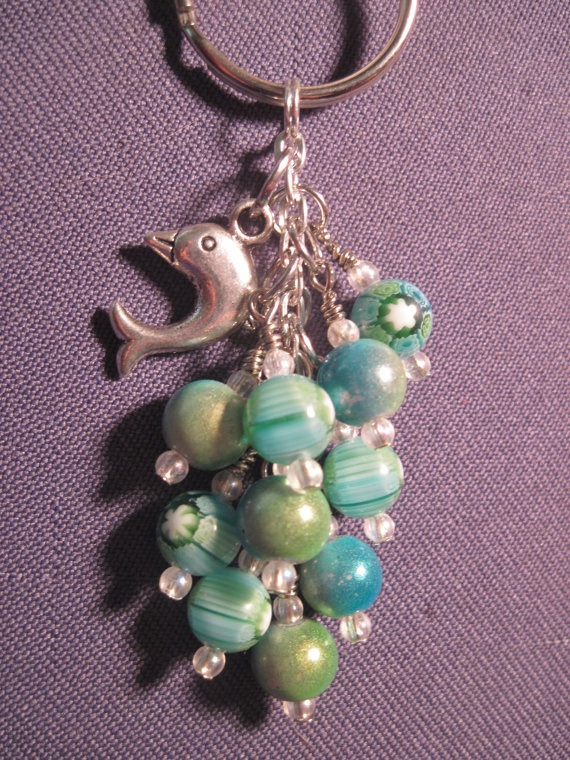 Blue and Green Glass Bead Mini Purse Charm / Key Chain by FoxyFundanglesByCori, $5.00