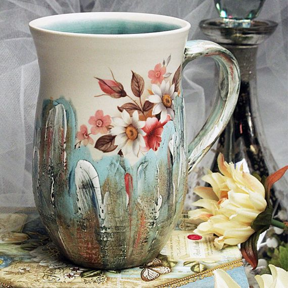Porcelain Modern Victorian Mug in Turquoise by BelleEpoquePottery, $36.00