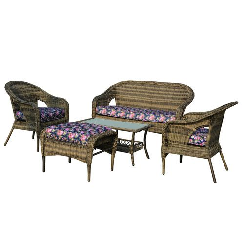 St. James Dark Brown 5 Piece All Weather Wicker Patio Seating Set With