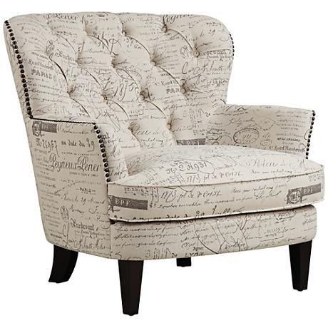 Angelique Paris Script Beige Button Tufted Armchair