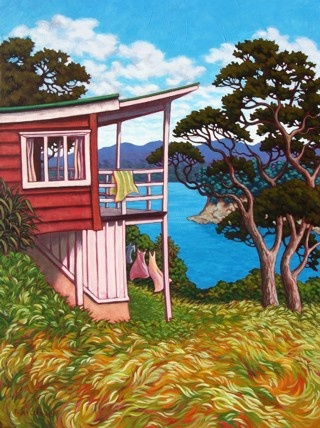 Mercury Bay Art Escape - Rachel Olsen - Contemporary artist Painter Cooks Beach