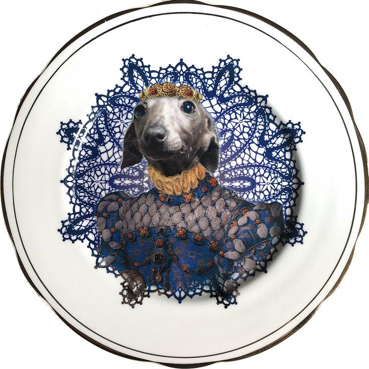 Lady Pucca - Italian Greyhound - Lebrel dog -  Vintage Fine Bone China Plate - #0587 by ArtefactoStore on Etsy