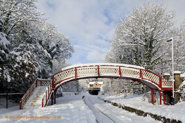 Whatstandwell railway station bridge in winter snow conditions - Derbyshire