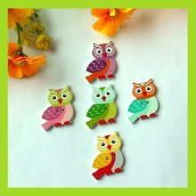 150PCS Cute Owl Wooden buttons Handmade Word Mixed Color Craft Decoration Button 25*27mm Scrapbooking Accessories botones(China (Mainland))