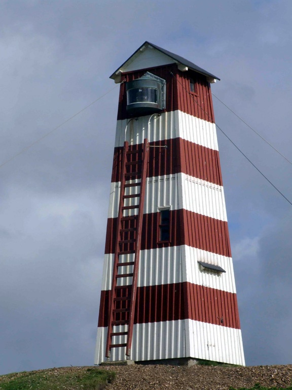 Vorupør Bagfyr Lighthouse is fixed with wires to withstand the wind.  Denmark