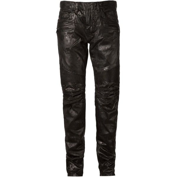 Balmain Black Cotton Varnished Biker Trouser Jeans W5ht503d209 (£630) ❤ liked on Polyvore featuring men's fashion, men's clothing, men's jeans, men, black, mens straight leg jeans, mens cotton jeans, balmain mens jeans, mens stretch jeans and mens biker jeans