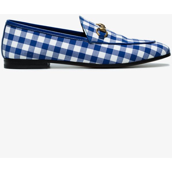 Gucci Blue Gingham Jordaan Loafers ($695) ❤ liked on Polyvore featuring shoes, loafers, blue, loafers moccasins, loafer shoes, horsebit loafers, horsebit shoes and gucci shoes