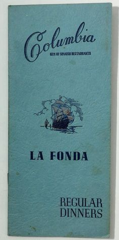 1948 Vintage DINNER Menu COLUMBIA La Fonda Spanish Restaurant Tampa Florida