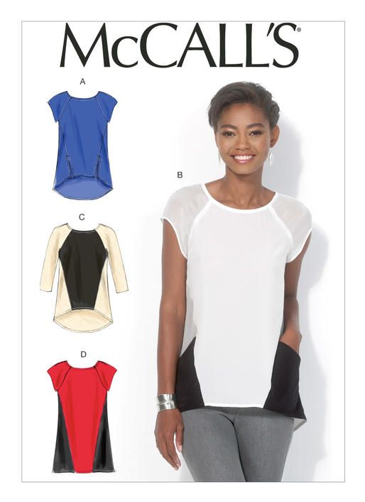 M7093 Semi-fitted, pullover tops and tunic have front seam detail, hemline variations and narrow hem. A: Side-front slits. A, B, C: High-low hem, wrong side shows on hemline. A, B, D: Cap sleeves. B: Side-front pockets. C: Three-quarter length sleeves.