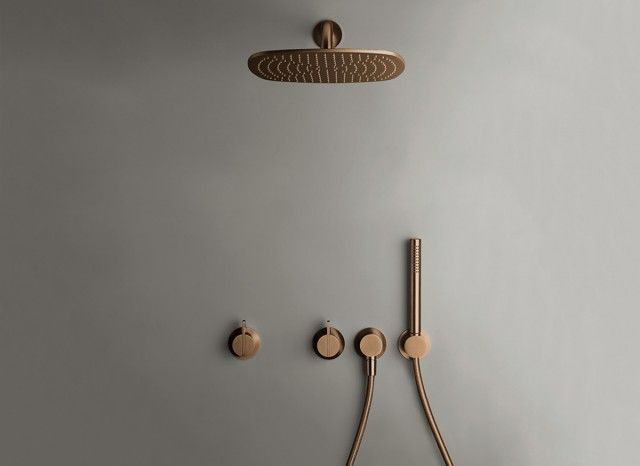 COCOON PB SET22 Complete Build In Rain Shower Set   Raw Copper
