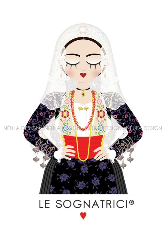 Le Sognatrici - Abito Tradizionale di Putifigari   #Traditional #dress #LeSognatrici #sardegna #sardinia #illustration #art #jewelry