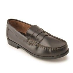 Penny 2 - Dark Brown High Shine Leather - slip on boys school shoes combining style, comfort and durability