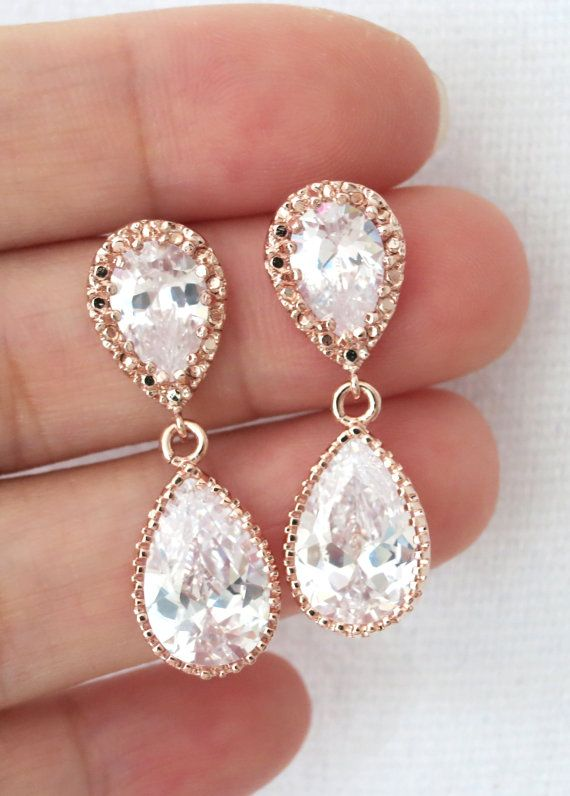 Rose Gold Cubic Zirconia Teardrop Earring - gifts for her, earrings, bridal gifts, drop, dangle, pink gold weddings, bridesmaid earrings, www.colormemissy.com