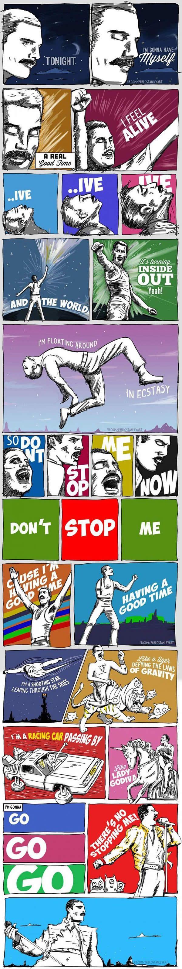 Letra de Dont Stop Me Now do Queen em Quadrinhos! - Paul Stanley
