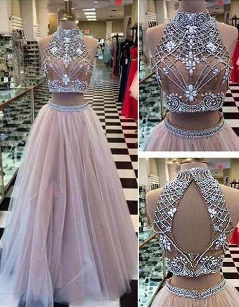 Cute high neck purple tulle two pieces prom dress with beautiful top details, long evening dress for teens