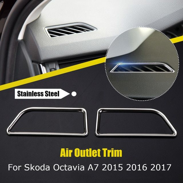 6dd96287a01 Dashboard Outlet Vent Stainless Steel Bezet Outlet Decoration Trim Cover For  VW for skoda octavia a7 a7 2015 Car Styling Review