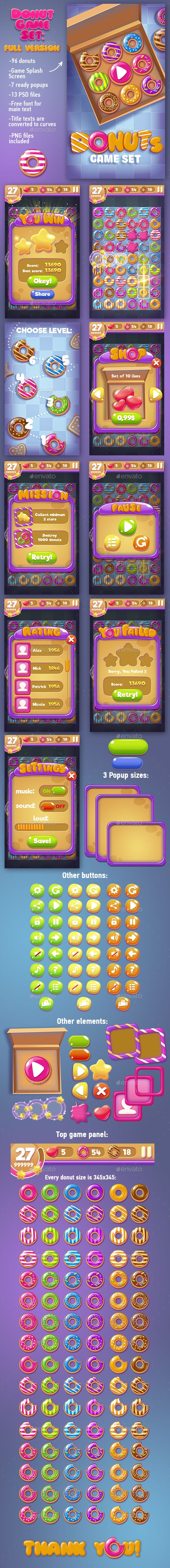 Big Donuts Game Set with GUI — Photoshop PSD #gui #match 3 • Available here → https://graphicriver.net/item/big-donuts-game-set-with-gui/15501468?ref=pxcr