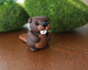 Polymer Clay Fox Miniature Fox Mini Clay Fox by GnomeWoods